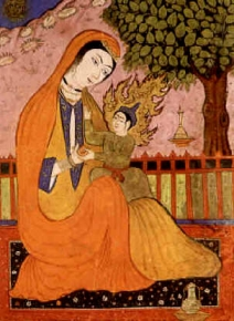 Virgin_Mary and Jesus (old_Persian_miniature). Domaine Public. Source wikicommons